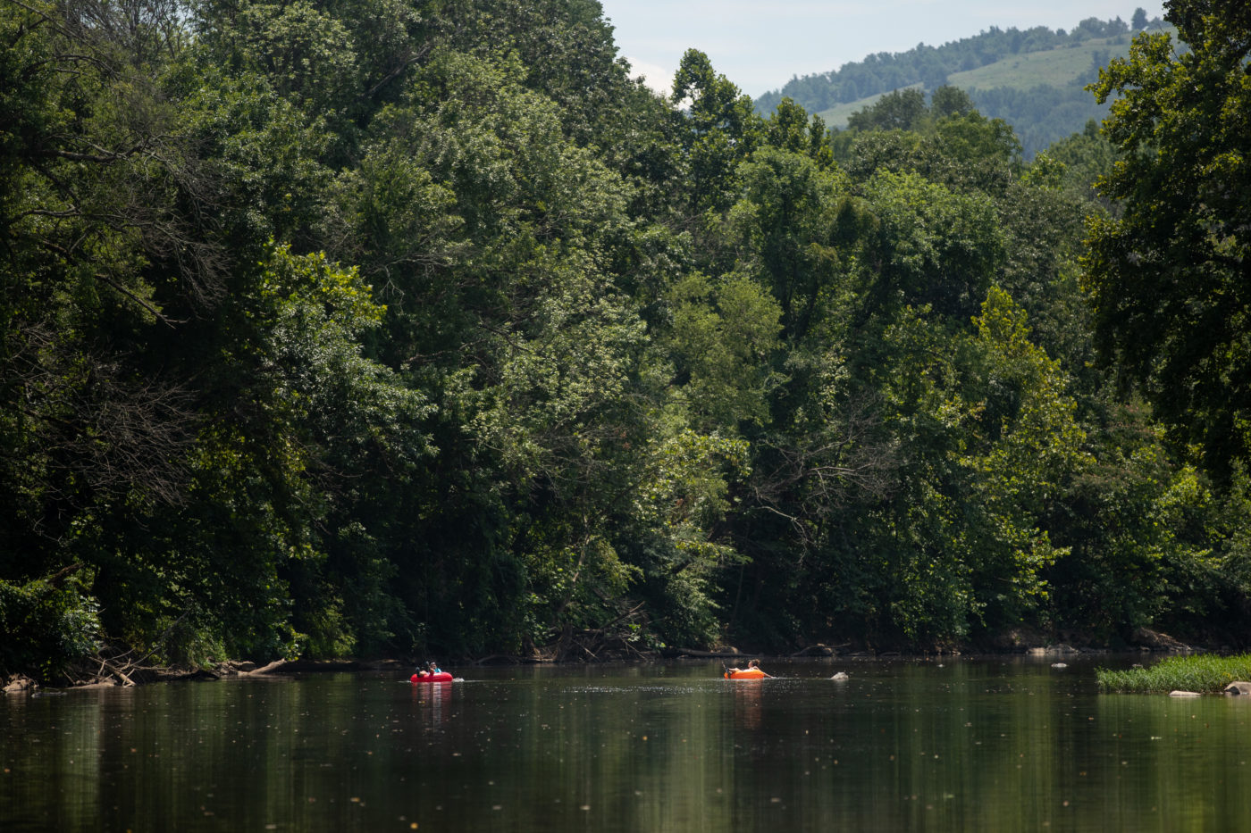 People go tubing on the Rivanna River in Albemarle County.
